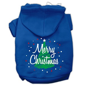 Scribbled Merry Christmas Screenprint Pet Hoodies Blue Size XS (8)