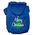 Scribbled Merry Christmas Screenprint Pet Hoodies Blue Size S