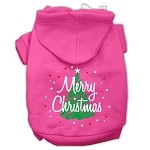 Scribbled Merry Christmas Screenprint Pet Hoodies Bright Pink Size XS