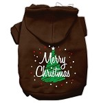 Scribbled Merry Christmas Screenprint Pet Hoodies Brown Size XS