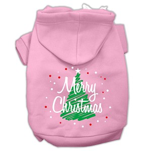 Scribbled Merry Christmas Screenprint Pet Hoodies Light Pink Size XXL