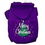 Scribbled Merry Christmas Screenprint Pet Hoodies Purple Size XS