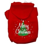 Scribbled Merry Christmas Screenprint Pet Hoodies Red Size XS