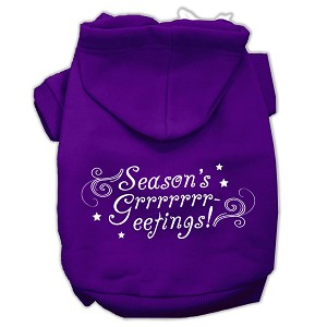 Seasons Greetings Screen Print Pet Hoodies Purple Size M