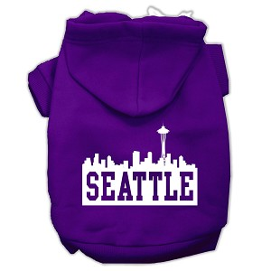 Seattle Skyline Screen Print Pet Hoodies Purple Size Sm (10)