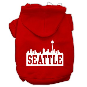 Seattle Skyline Screen Print Pet Hoodies Red Size Lg (14)