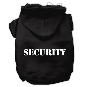 Security Screen Print Pet Hoodies Black Size w/ Cream text Med (12)