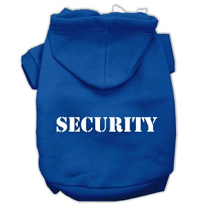 Security Screen Print Pet Hoodies Blue Size XS