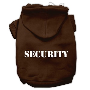 Security Screen Print Pet Hoodies Brown Size XL