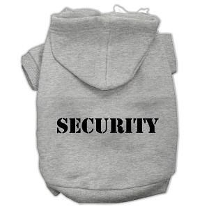 Security Screen Print Pet Hoodies Grey Size w/ Black text Med (12)