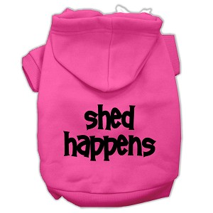 Shed Happens Screen Print Pet Hoodies Bright Pink Size Med (12)