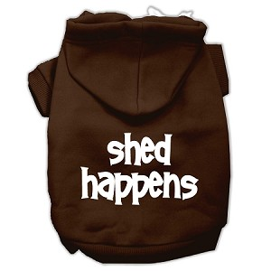 Shed Happens Screen Print Pet Hoodies Brown Size XS