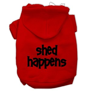 Shed Happens Screen Print Pet Hoodies Red Size Med (12)