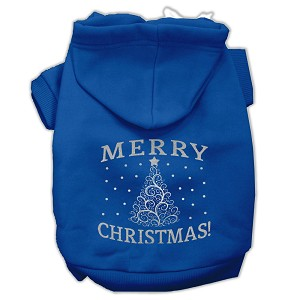 Shimmer Christmas Tree Pet Hoodies Blue Size XXXL (20)