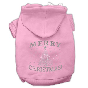 Shimmer Christmas Tree Pet Hoodies Light Pink Size XL (16)