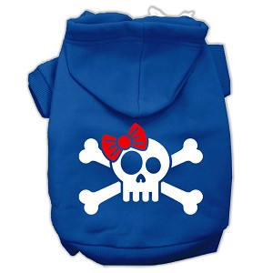 Skull Crossbone Bow Screen Print Pet Hoodies Blue Size Lg (14)