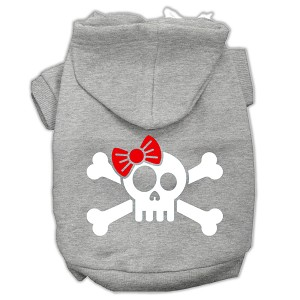 Skull Crossbone Bow Screen Print Pet Hoodies Grey Size Sm (10)