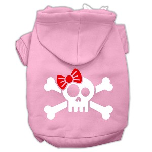 Skull Crossbone Bow Screen Print Pet Hoodies Light Pink Size XXL (18)