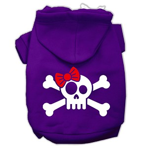 Skull Crossbone Bow Screen Print Pet Hoodies Purple Size Sm (10)