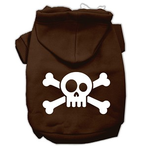 Skull Crossbone Screen Print Pet Hoodies Brown Size Lg (14)