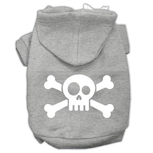 Skull Crossbone Screen Print Pet Hoodies Grey Size Med (12)