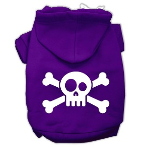 Skull Crossbone Screen Print Pet Hoodies Purple Size XL (16)