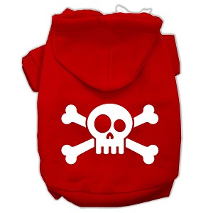 Skull Crossbone Screen Print Pet Hoodies Red Size Sm (10)