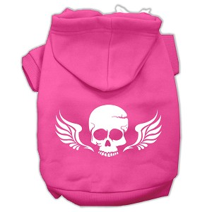 Skull Wings Screen Print Pet Hoodies Bright Pink Size XL (16)