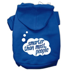 Smarter then Most People Screen Printed Dog Pet Hoodies Blue Size XXXL