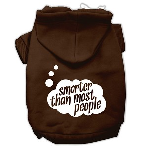 Smarter then Most People Screen Printed Dog Pet Hoodies Brown Size Med