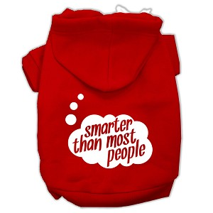 Smarter then Most People Screen Printed Dog Pet Hoodies Red Size Lg (14)