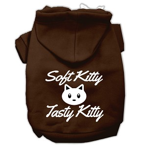 Softy Kitty, Tasty Kitty Screen Print Dog Pet Hoodies Brown Size XXL (18)