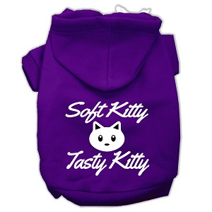Softy Kitty, Tasty Kitty Screen Print Dog Pet Hoodies Purple Size Lg (14)