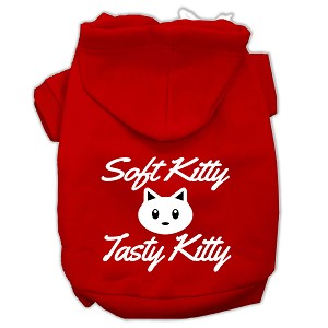 Softy Kitty, Tasty Kitty Screen Print Dog Pet Hoodies Red Size Med (12)