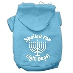 Spoiled for 8 Days Screenprint Dog Pet Hoodies Baby Blue Size XS