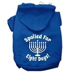 Spoiled for 8 Days Screenprint Dog Pet Hoodies Blue Size XS