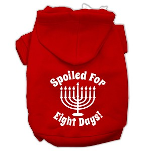 Spoiled for 8 Days Screenprint Dog Pet Hoodies Red Size XS (8)