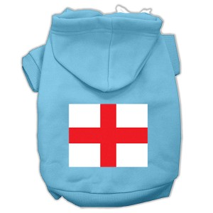 St. George's Cross (English Flag) Screen Print Pet Hoodies Baby Blue Size XS (8)