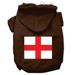 St. George's Cross (English Flag) Screen Print Pet Hoodies Brown Size XS (8)