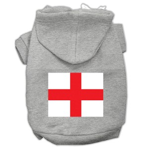 St. George's Cross (English Flag) Screen Print Pet Hoodies Grey Size Sm (10)