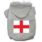 St. George's Cross (English Flag) Screen Print Pet Hoodies Grey Size XS (8)