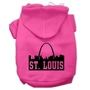 St Louis Skyline Screen Print Pet Hoodies Bright Pink Size Med (12)