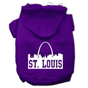 St Louis Skyline Screen Print Pet Hoodies Purple Size XS (8)