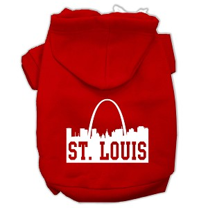 St Louis Skyline Screen Print Pet Hoodies Red Size XS (8)