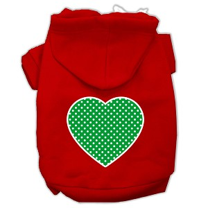 Green Swiss Dot Heart Screen Print Pet Hoodies Red Size XS (8)