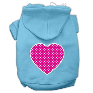 Pink Swiss Dot Heart Screen Print Pet Hoodies Baby Blue Size XXL (18)