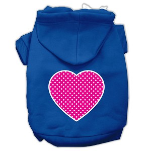 Pink Swiss Dot Heart Screen Print Pet Hoodies Blue Size Lg (14)
