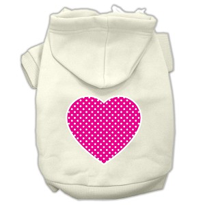 Pink Swiss Dot Heart Screen Print Pet Hoodies Cream Size XXL (18)