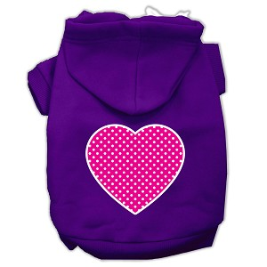 Pink Swiss Dot Heart Screen Print Pet Hoodies Purple Size Lg (14)