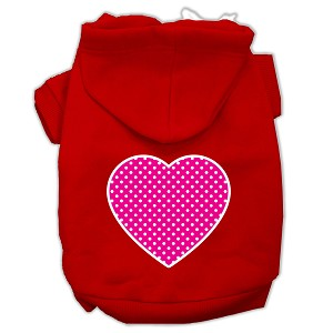 Pink Swiss Dot Heart Screen Print Pet Hoodies Red Size XL (16)